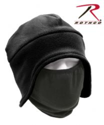 BLACK FLEECE HAT WITH PULL DOWN FACE MASK